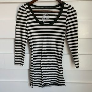 (LIKE NEW) Poof // Black and White Striped Top